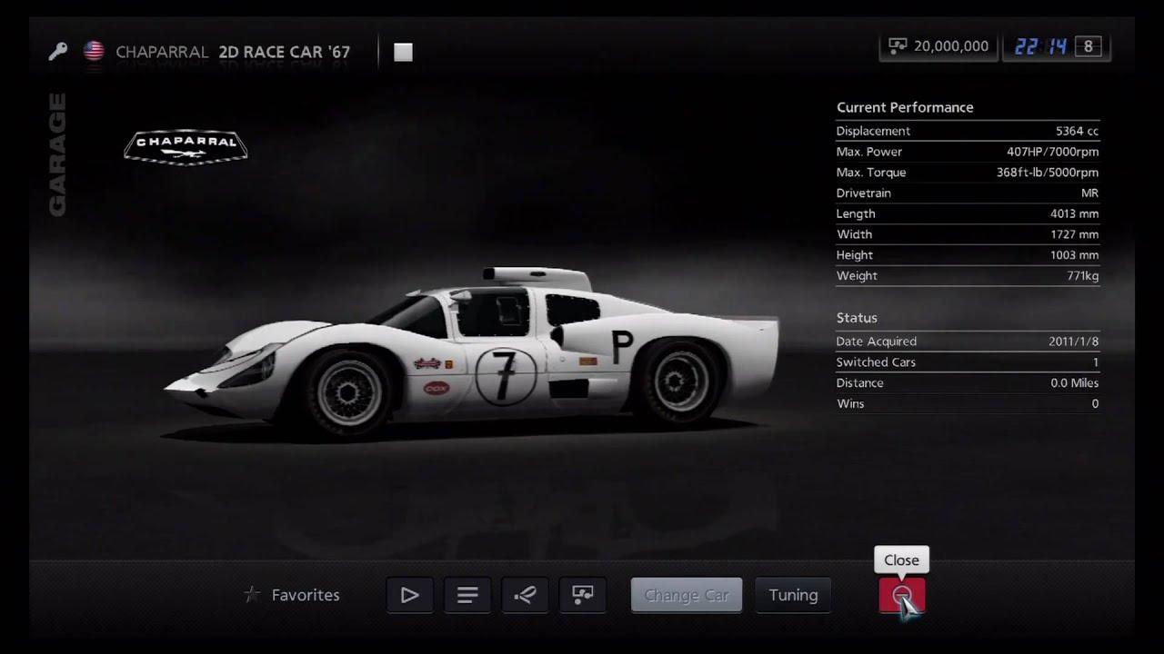 Gran turismo 5 chaparral 2d race car 67 classic race cars