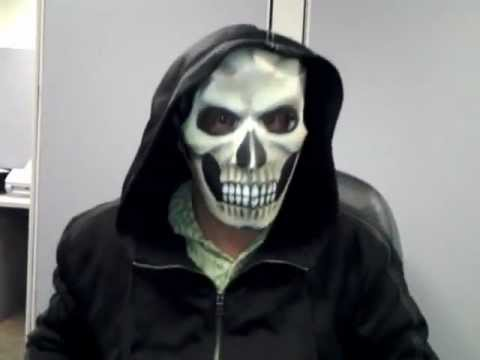 paper skull mask halloween costume idea