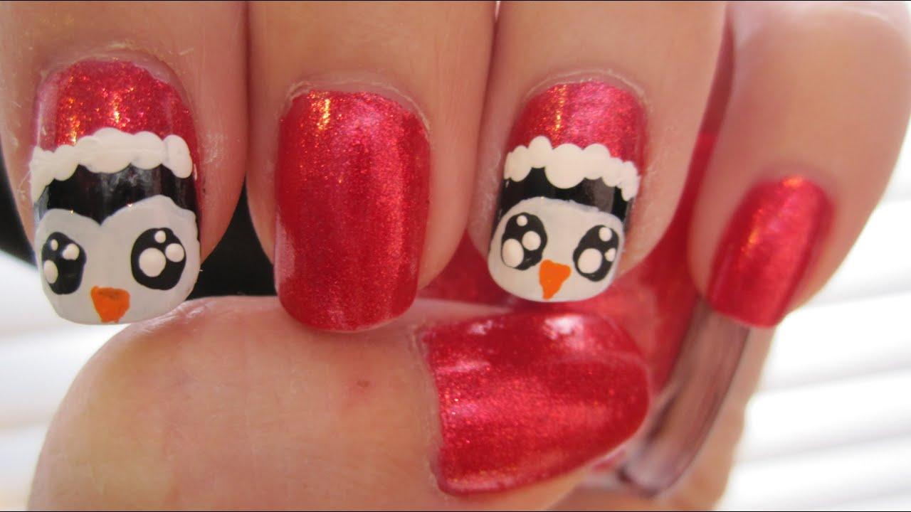 santa penguins nail art