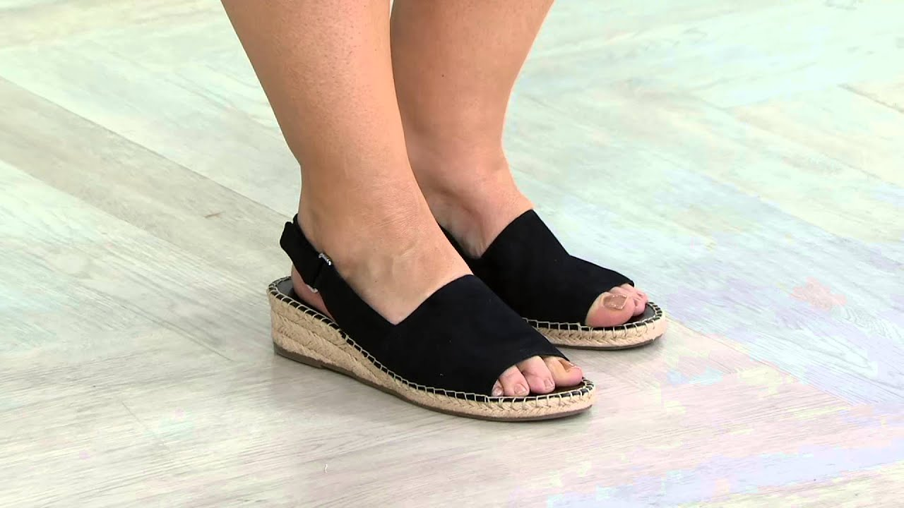 9e5427bea7c Franco Sarto Slingback Espadrille Wedges - Leanne on QVC - YouTube