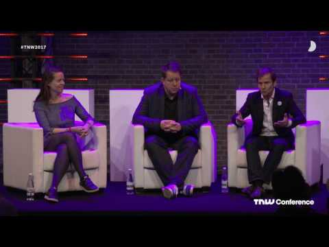 Aurore Belfrage with the founders of Matsmart, Bragi and Misterfly | TNW Conference 2017
