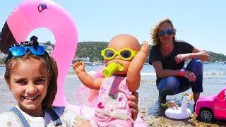 Spielzeugvideo für Kinder - Die Puppen am Meer - 4 Episoden am Stück