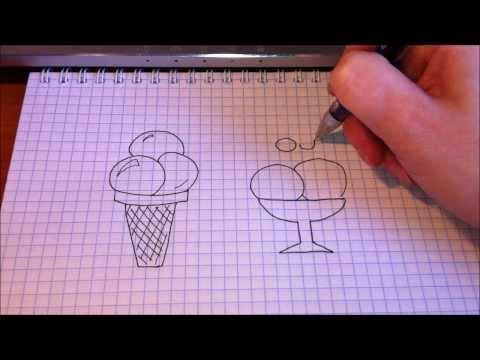 Простые рисунки # 63.Как нарисовать мороженое.