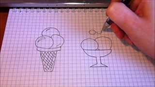 Простые рисунки # 63.Как нарисовать мороженое.(Как нарисовать простой рисунок обычной гелевой ручкой за несколько минут. Спасибо, что смотрите мои видео...., 2014-03-04T13:18:36.000Z)