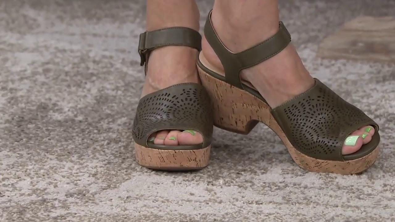 953e4bfb7f1 Clarks Artisan Perforated Leather Wedge Sandals Maritsa Nila on QVC 720p