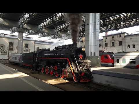 Старт паровоза с платформы Казанского вокзала 27 апреля 2019