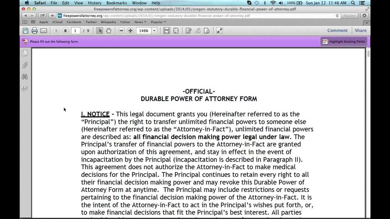 How To Fill In An Oregon Power Of Attorney Form Youtube
