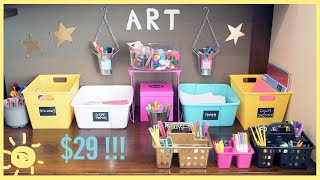 ORGANIZE |  Dollar Store $29 Kids Art Room Overhaul!