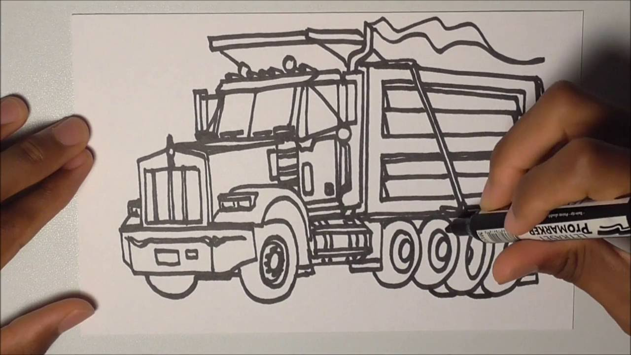 How to draw a dump truck