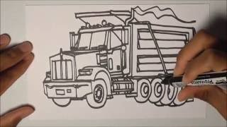 DRAWING TRUCKS!!! Kenworth T800 Dump Truck