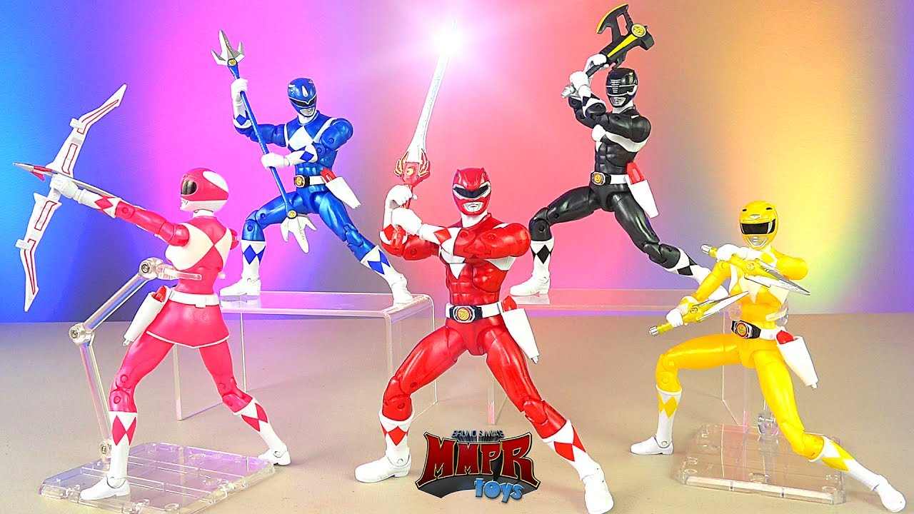 Power Rangers Legacy Metallic Figures With Weapons 6 5