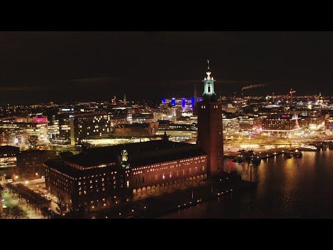 3727. Stadshuset (Stockholm City Hall) Drone Stock Footage Video