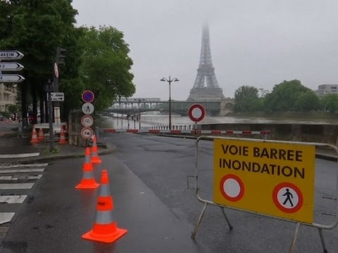 Raw: Paris's River Seine Overflows From Rainfall