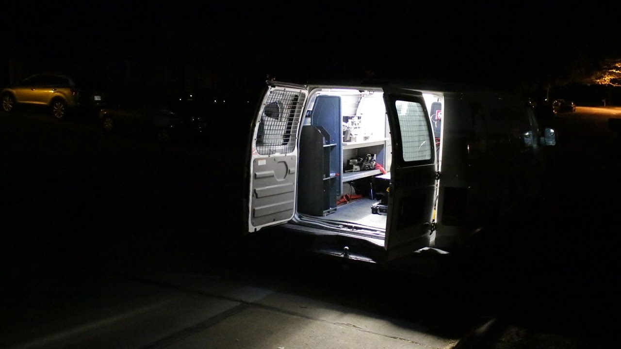 Work Van Interior Lighting  With Poorly Drawn Wiring