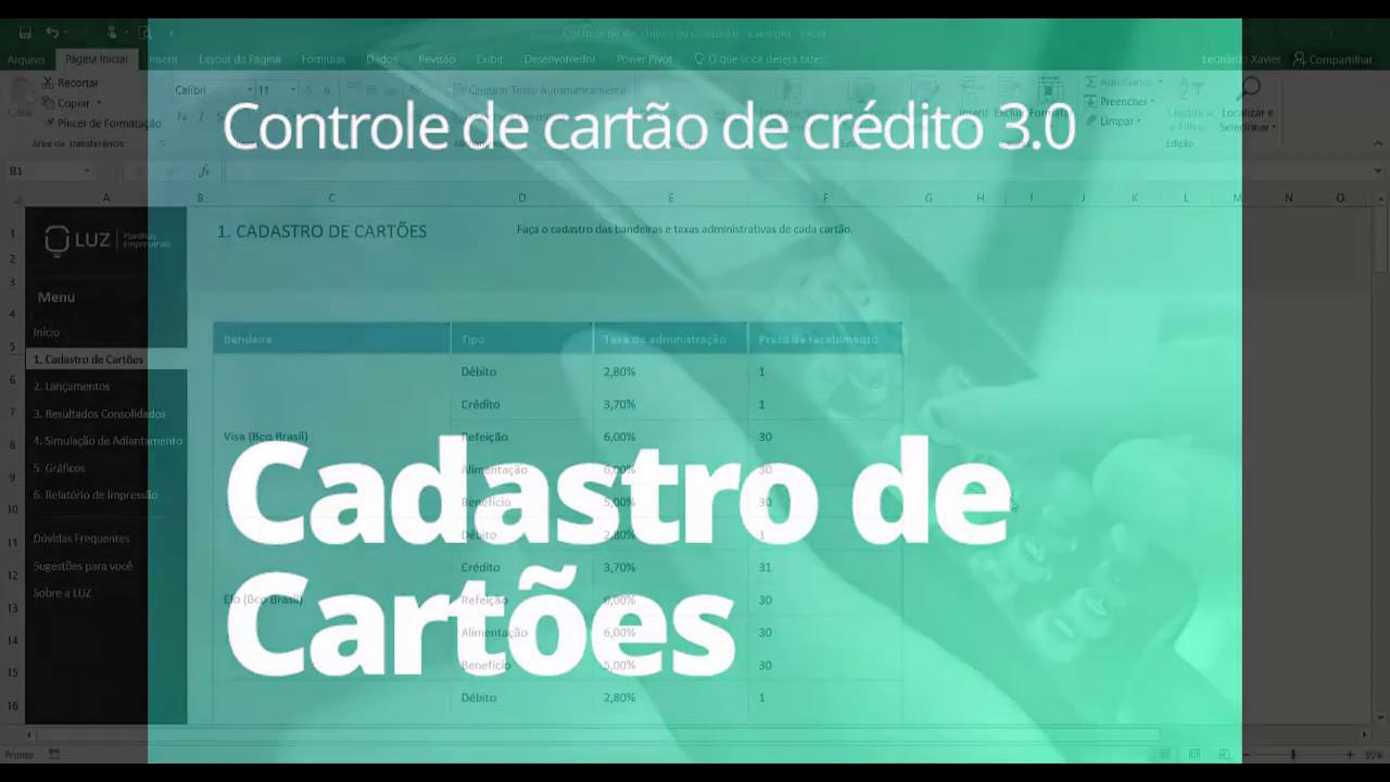 db6f770dd Planilha de Controle de Cartão de Crédito 3.0 - Cadastro de Cartões ...