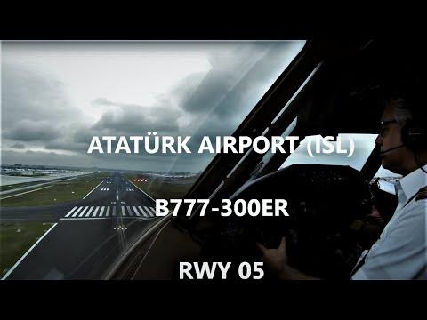 Cockpit View B777 Istanbul Crosswind Landing