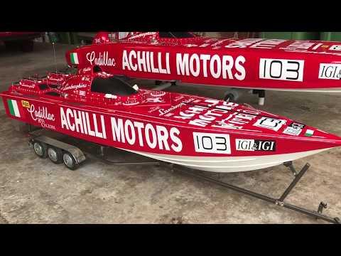Gigantic RC Boat Achilli Motors Offshore Powerboat.