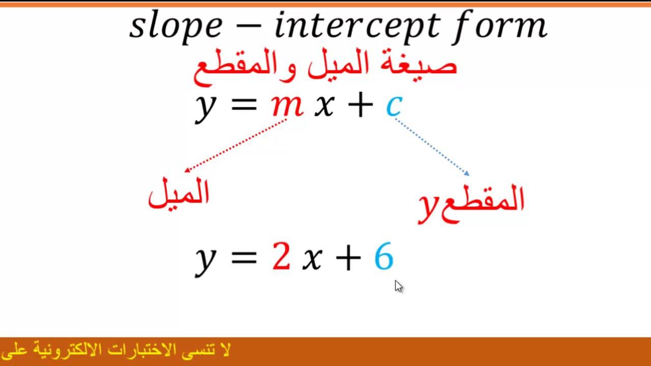 ايجاد الميل والمقطع الصادي من معادلة المستقيم Youtube