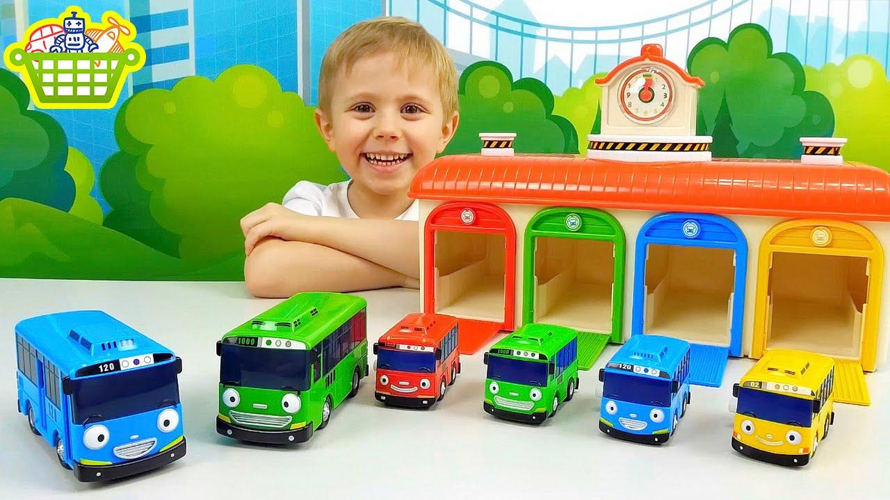 Тайо автобус большое яйцо сюрприз распаковка игрушки машинки - YouTube