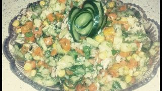 Qarğıdalı salatı.Bol vitaminli tərəvəz salatı