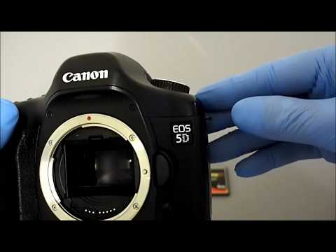 How To Install / Insert Compact Flash (CF) Card Into Canon 5D Camera.