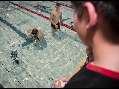 Students race robots underwater for science competition at Yokosuka