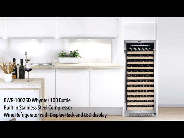 BWR-1002SD Whynter 100 Bottle Built-in Wine Refrigerator with Display Rack