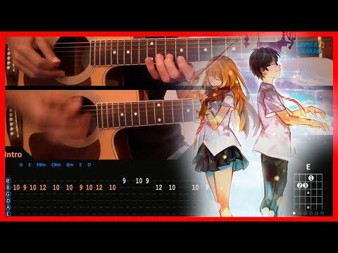 Hikaru Nara - Shigatsu Wa Kimi No Uso Opening (Chords) Acoustic Guitar Lesson [Tutorial + TAB]