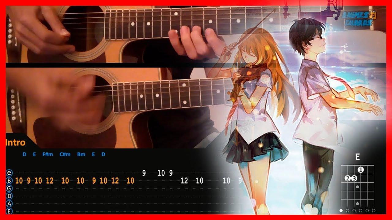 Hikaru Nara Shigatsu Wa Kimi No Uso Opening Chords Acoustic Guitar Lesson Tutorial Tab Youtube