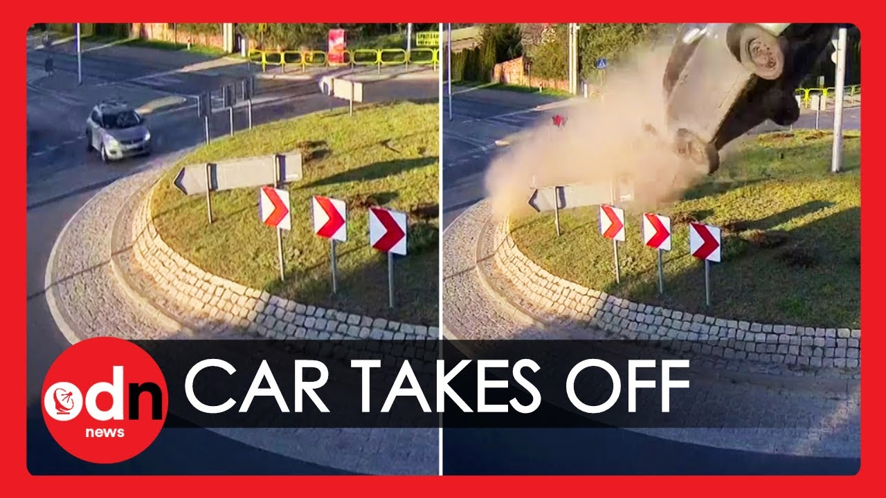 Shocking Moment Car 'Flies' Over Roundabout in Poland