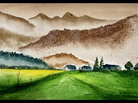 Mountain Landscape with Watercolor