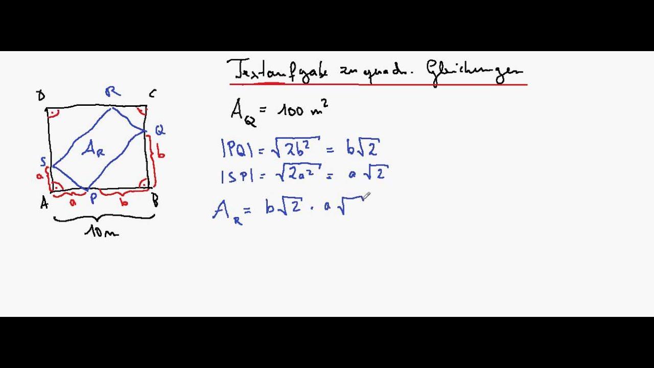 Textaufgaben zu quadratischen gleichungen