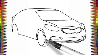 How to draw a car KIA Forte step by step