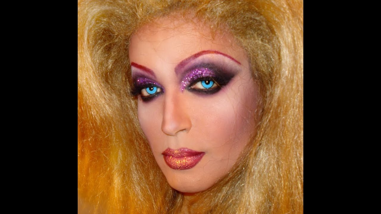 Pink glitter drag queen makeup transformation - YouTube