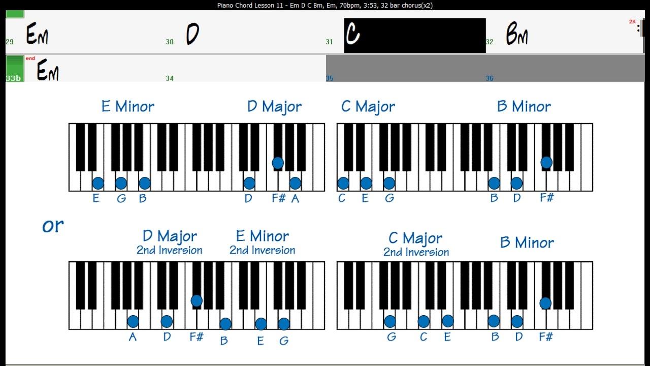 Piano Chord Lesson Excercise 15 Em D C Bm Chords   YouTube