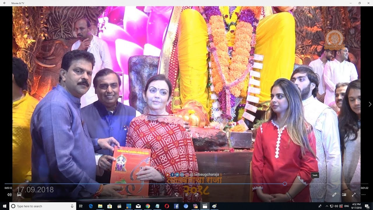 7ffedf766e81 Mukesh Ambani Family at Lalabaugcha Raja 17th September 2018 - YouTube