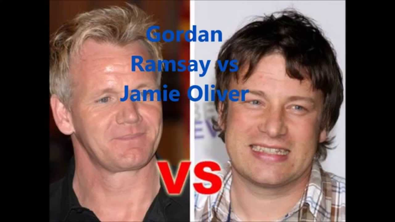 gordon ramsay vs jaime oliver Is it gordon ramsay vs jamie oliver again i'm all for the food just no chilli & coriander for me plz.