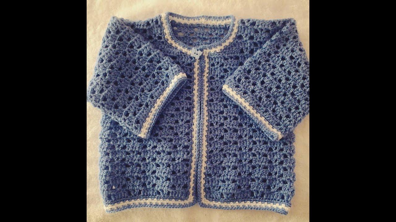 Jersey o chambrita de bebe a crochet tutorial diy 1 - Jerseys faciles de hacer ...