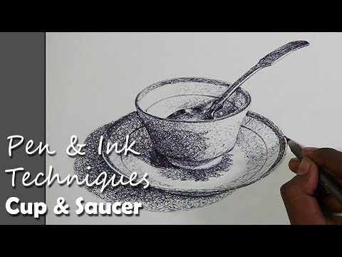 Pen & Ink Drawing : 'Random Lines' Techniques | Cup & Saucer Still Life Drawing