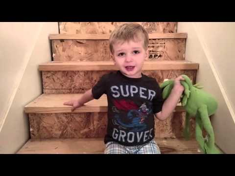 3 year old sings Halfway down the stairs.