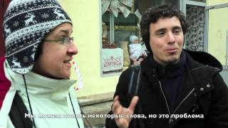 Опрос иностранных туристов на улицах Москвы