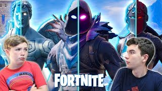 WHO HAS THE BEST SKINS!!?? COMPARING OUR BILLS AT FORTNITE!!!