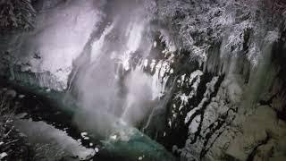 Japan Hokkaido Biei Shirahige Waterfall Winter Night View (4K)