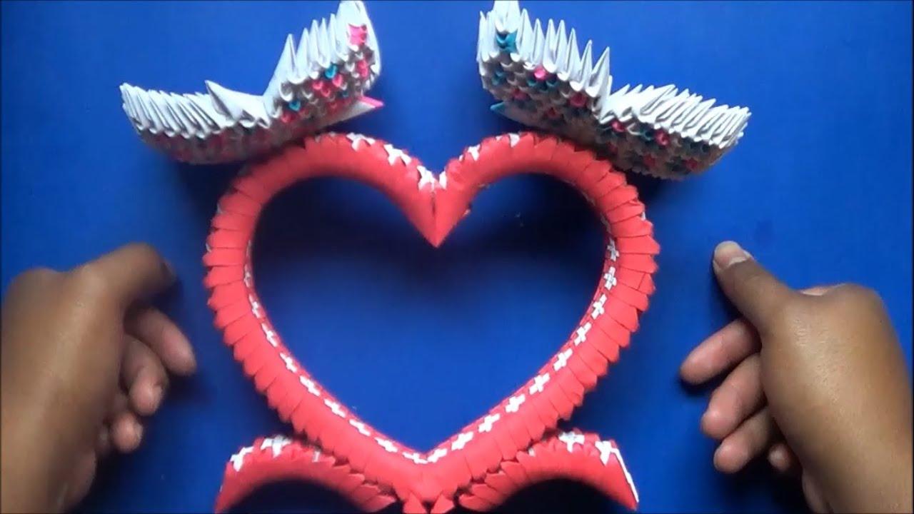 Origami 3d corazon con mariposas youtube - Como hacer mariposas de papel ...