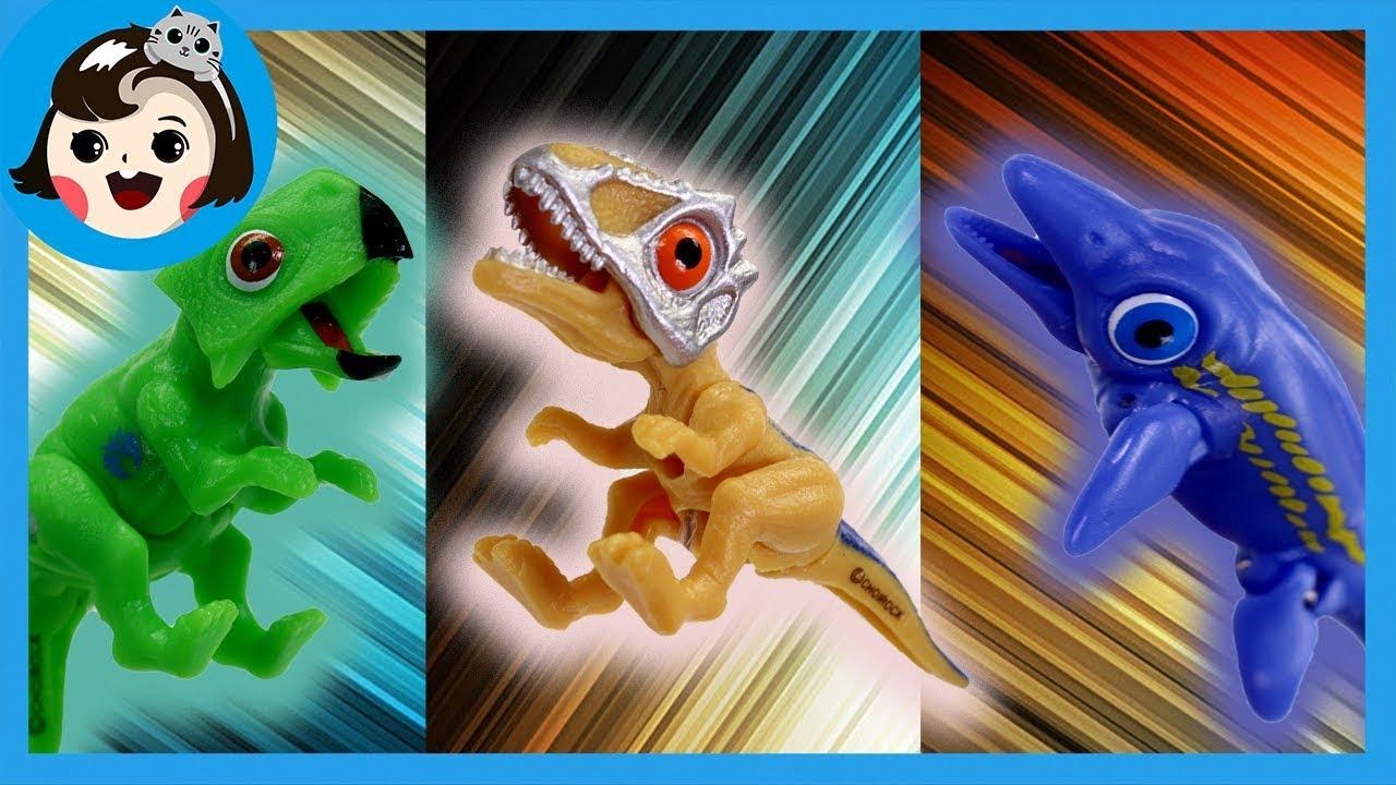 [A dda dda Toys] Dinosaur toy play ,Dino mecard battle , Carcharodonto,Psittacosaurus, Shastasaurus