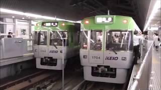 京王井の頭線 1000系1704F編成リニューアル車・1732F編成ライトグリーン同士 吉祥寺駅にて