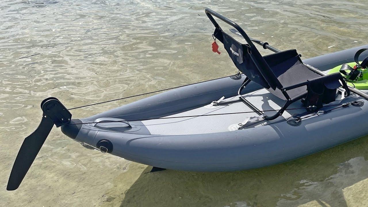 Easy DIY rudder for inflatable kayak.