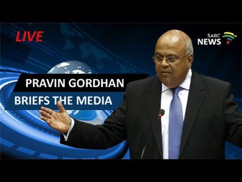 Pravin Gordhan briefs the media following reshuffle