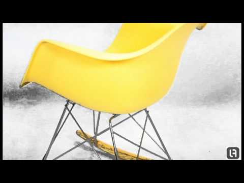 RAR Yellow Eames Style Rocking Chair