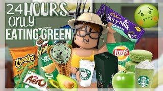 24 HOURS ONLY EATING GREEN || ROBLOX BLOXBURG || LANZILLIA ♡